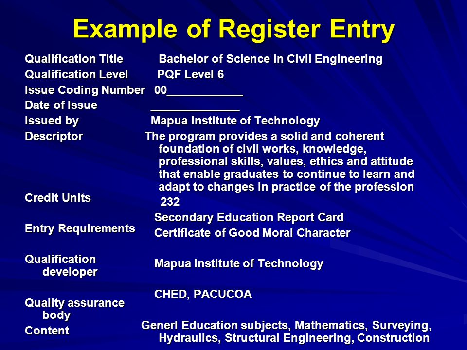 Example of Register Entry