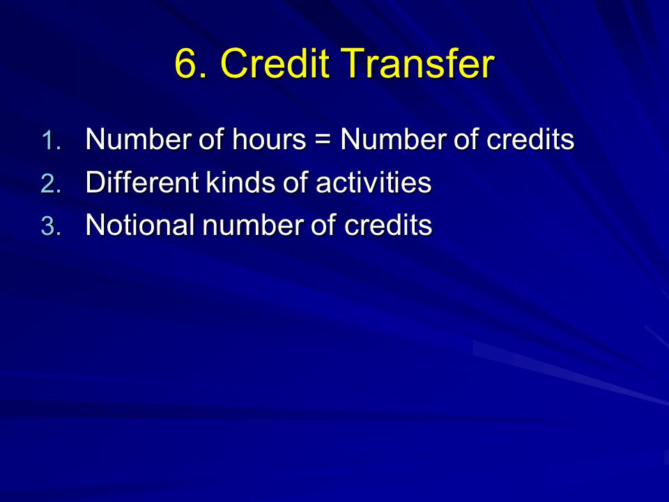 6. Credit Transfer Number of hours = Number of credits