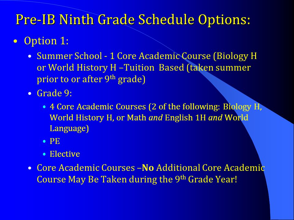Pre-IB Ninth Grade Schedule Options: