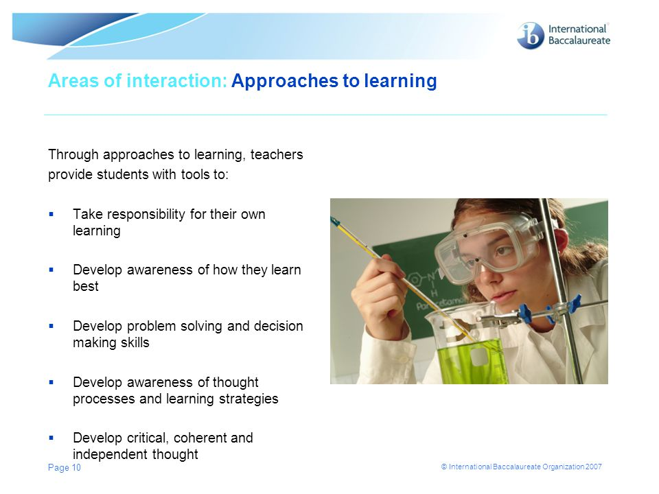 Areas of interaction: Approaches to learning