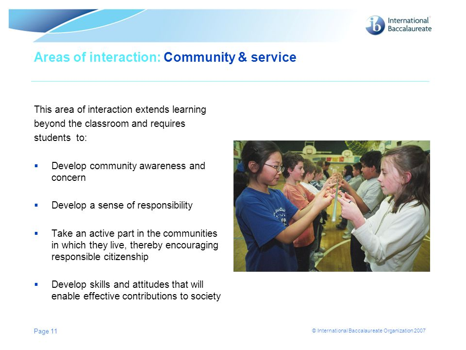 Areas of interaction: Community & service