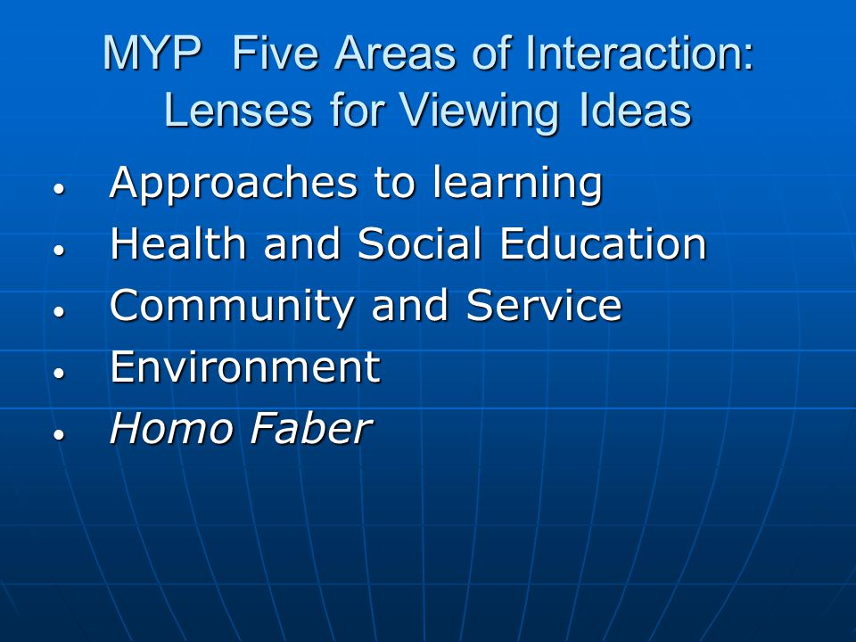 MYP Five Areas of Interaction: Lenses for Viewing Ideas