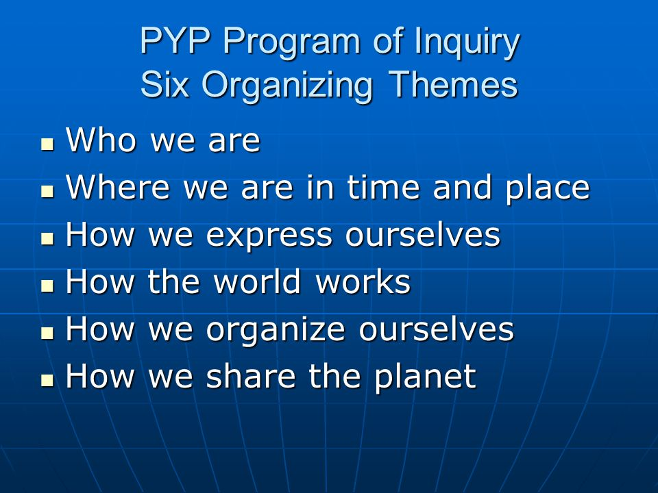 PYP Program of Inquiry Six Organizing Themes