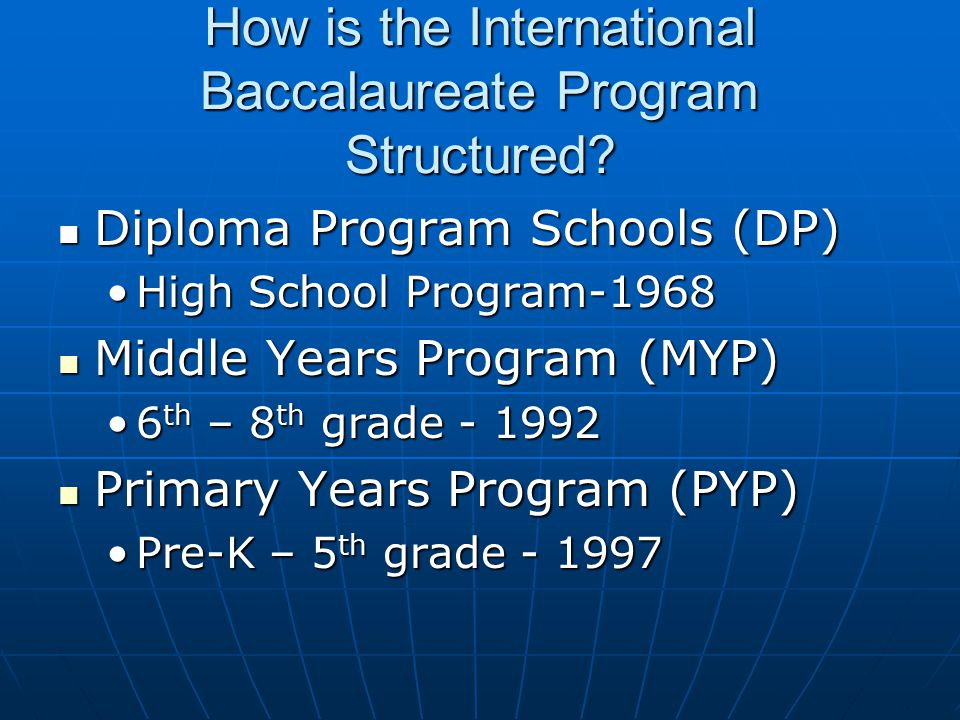 How is the International Baccalaureate Program Structured