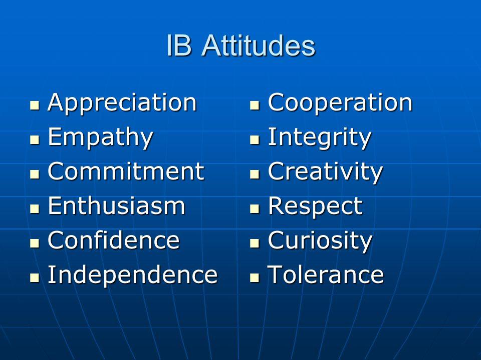 IB Attitudes Appreciation Empathy Commitment Enthusiasm Confidence