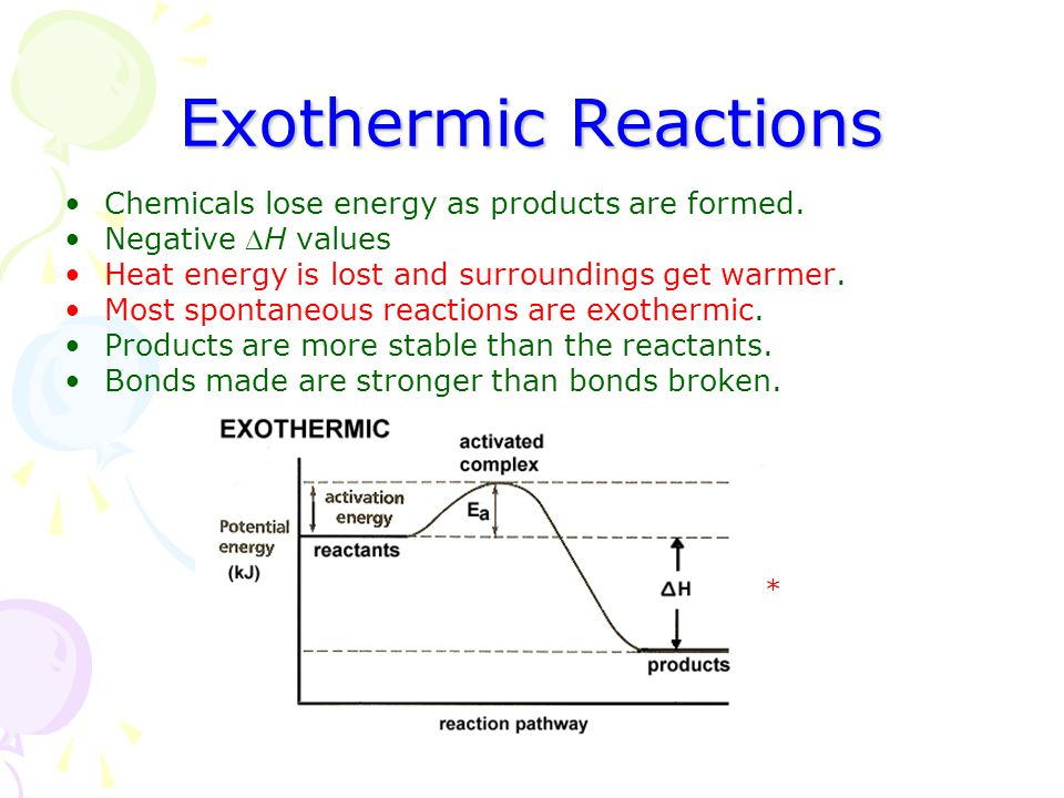 Exothermic Reactions Chemicals lose energy as products are formed.