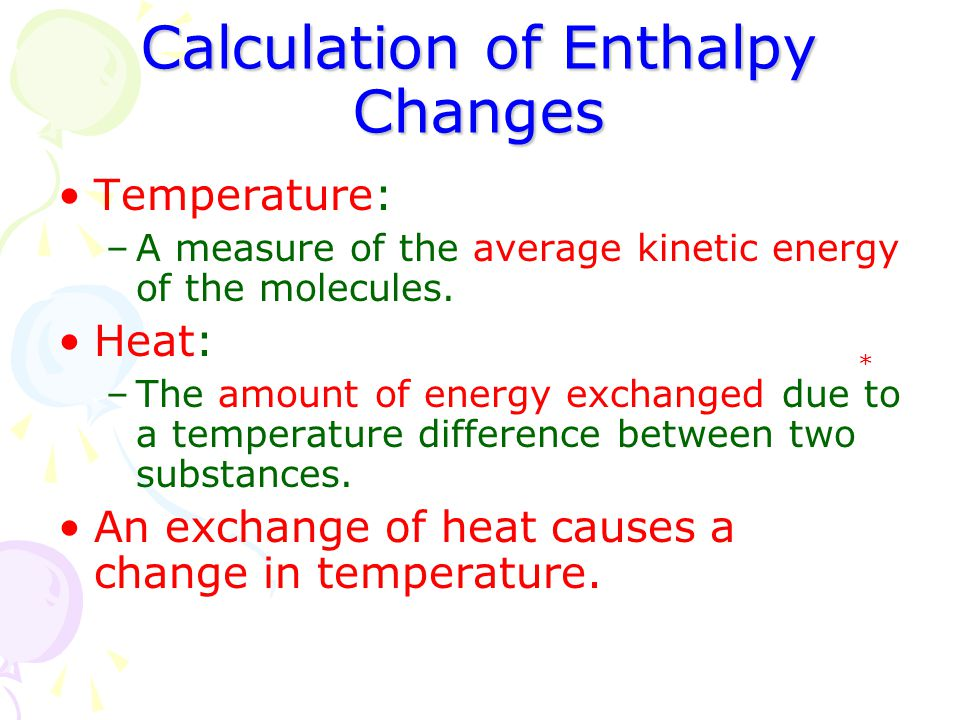 Calculation of Enthalpy Changes