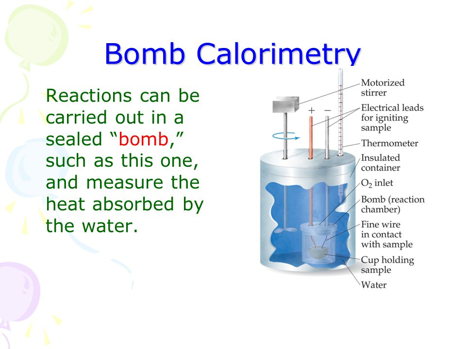 Bomb Calorimetry Reactions can be carried out in a sealed bomb, such as this one, and measure the heat absorbed by the water.