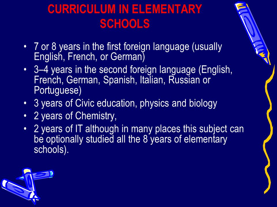 CURRICULUM IN ELEMENTARY SCHOOLS