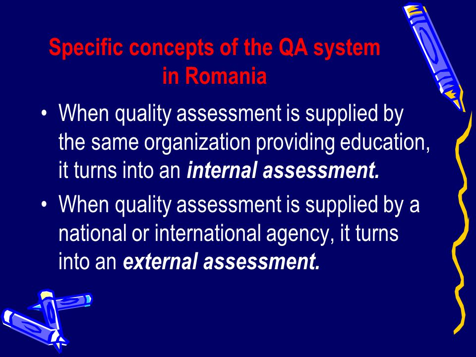 Specific concepts of the QA system in Romania
