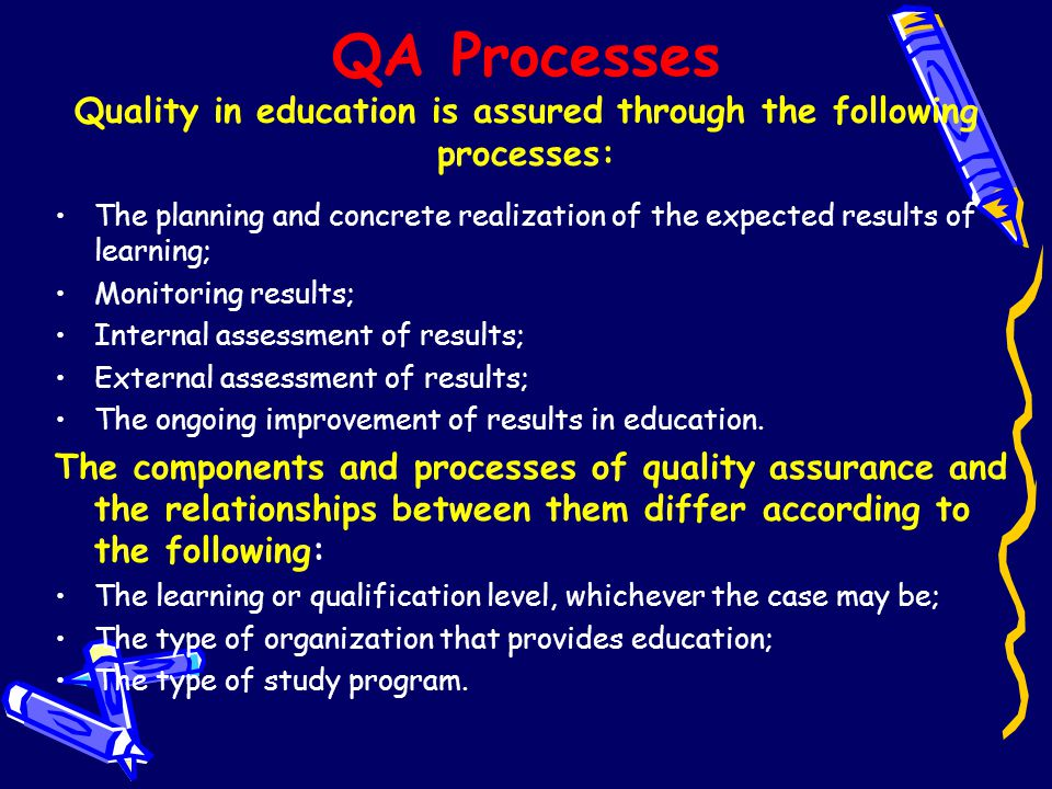 QA Processes Quality in education is assured through the following processes: