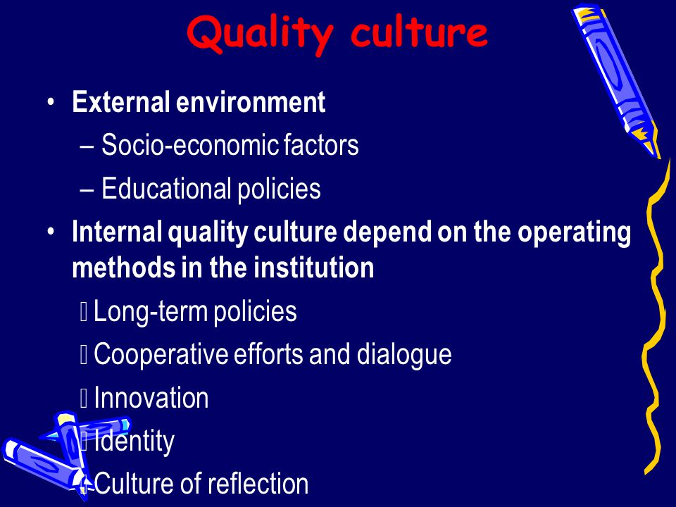Quality culture External environment Socio-economic factors