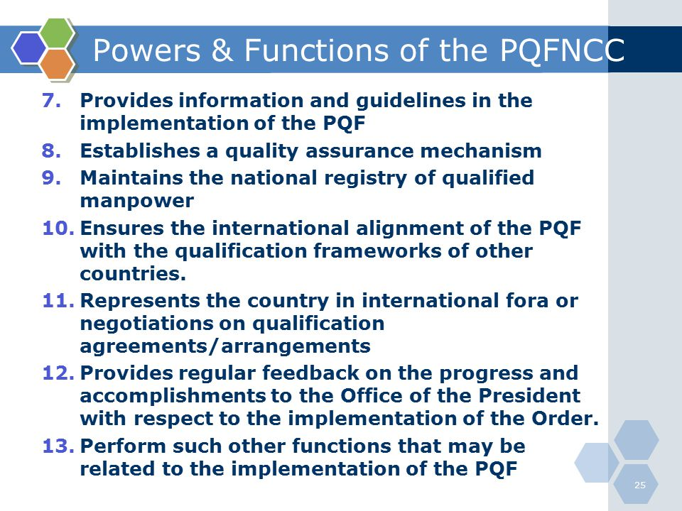 Powers & Functions of the PQFNCC