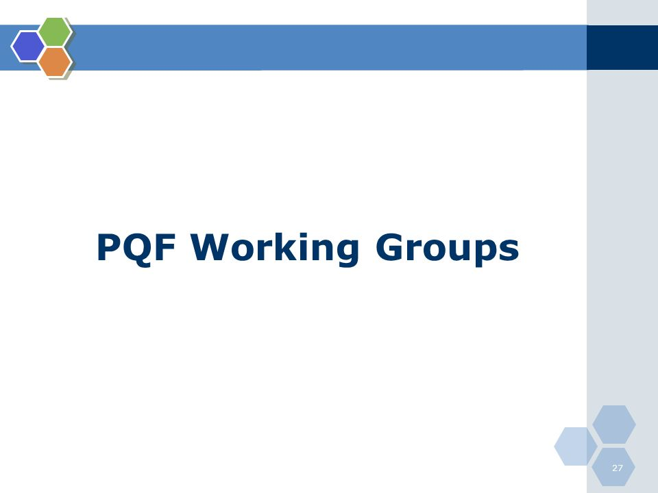PQF Working Groups
