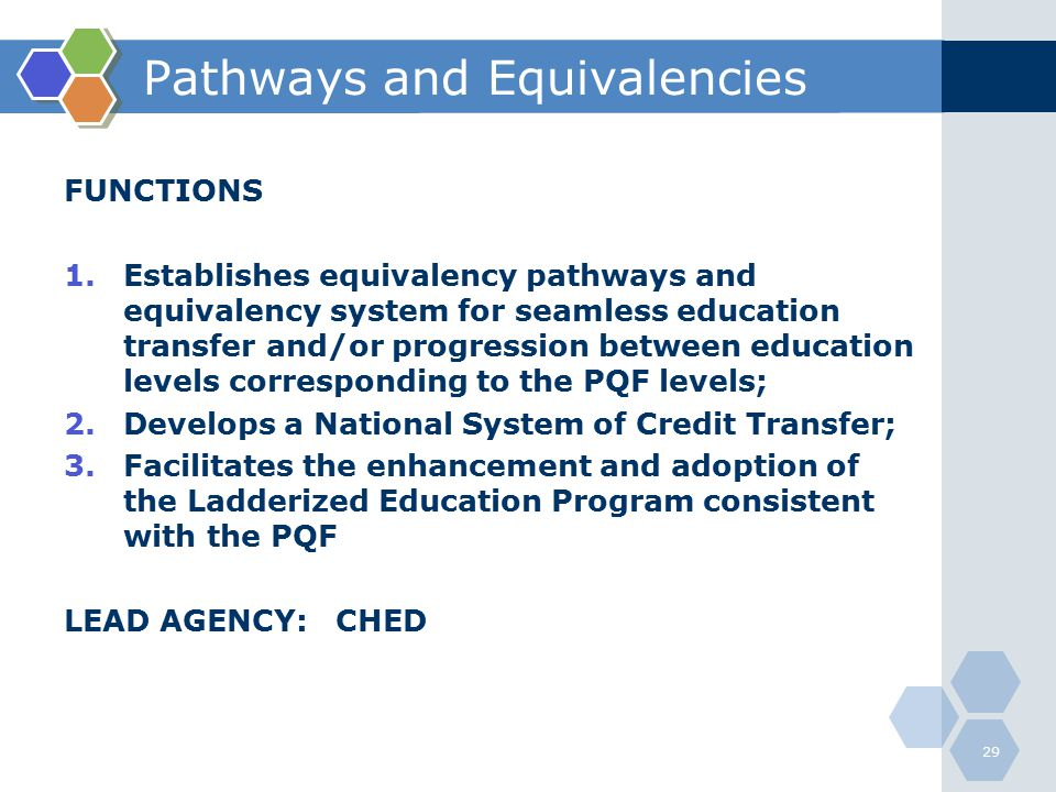 Pathways and Equivalencies