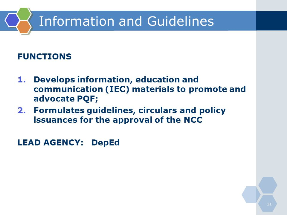 Information and Guidelines
