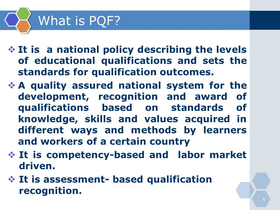 What is PQF It is a national policy describing the levels of educational qualifications and sets the standards for qualification outcomes.