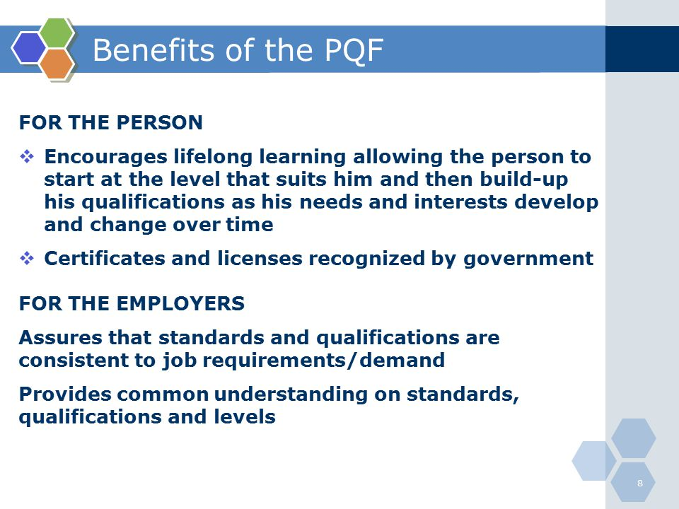 Benefits of the PQF FOR THE PERSON