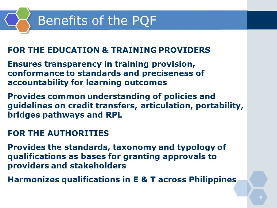 Benefits of the PQF FOR THE EDUCATION & TRAINING PROVIDERS
