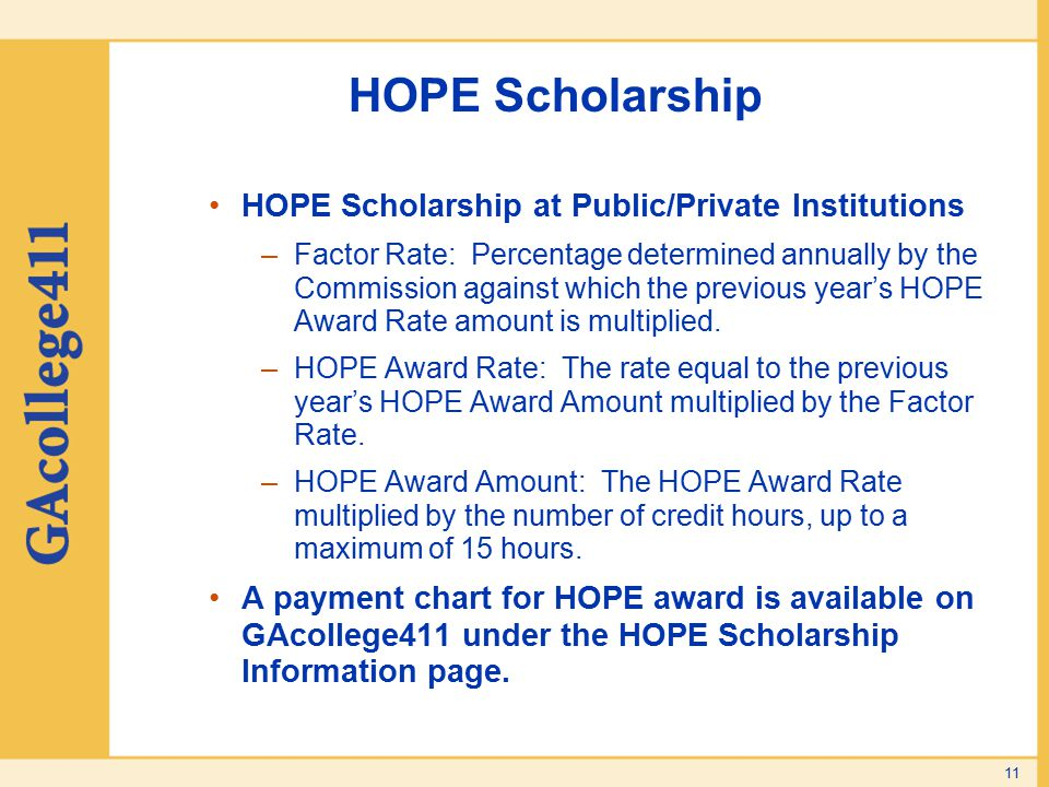 HOPE Scholarship HOPE Scholarship at Public/Private Institutions