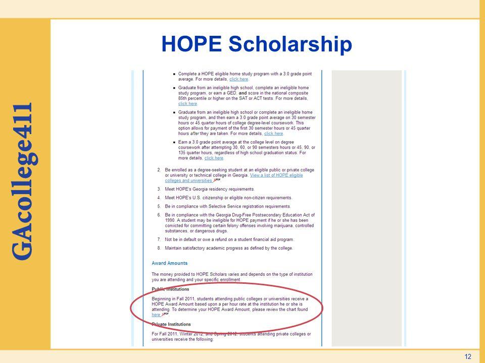 HOPE Scholarship To access HOPE Award Amounts: