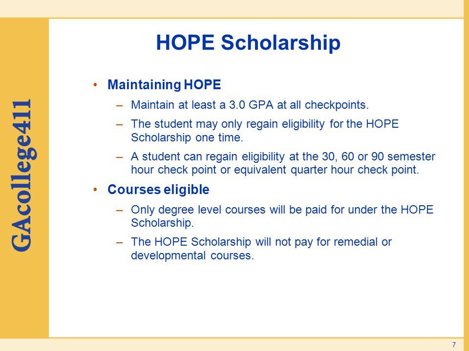 HOPE Scholarship Maintaining HOPE Courses eligible