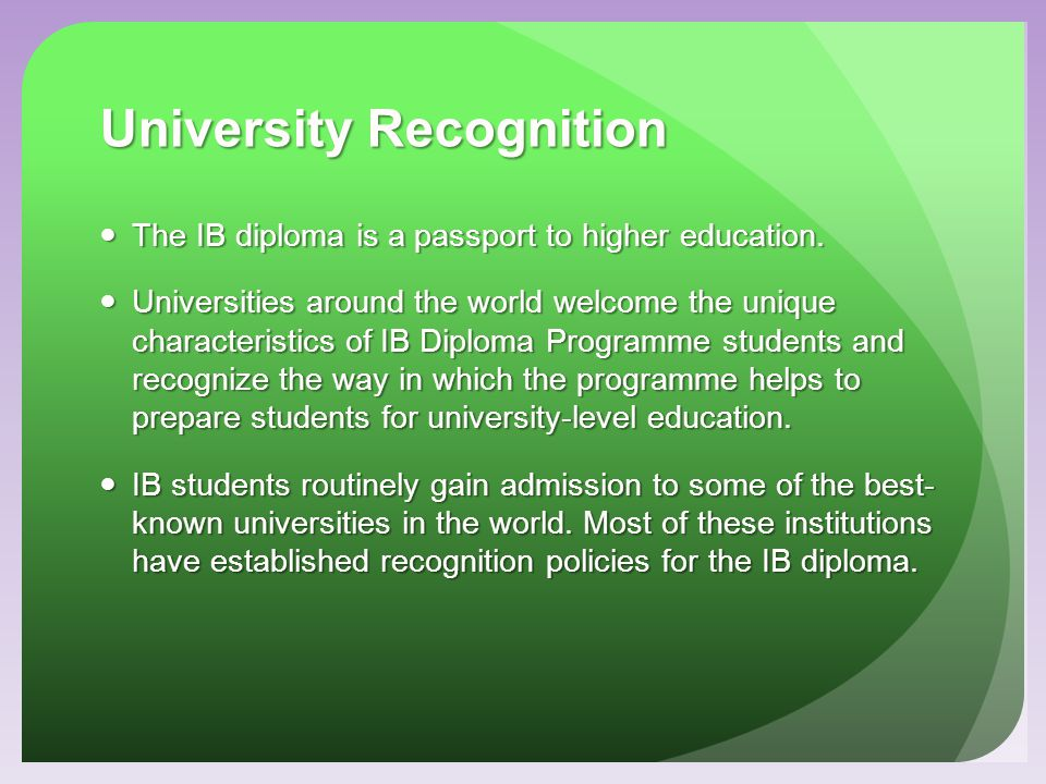 University Recognition
