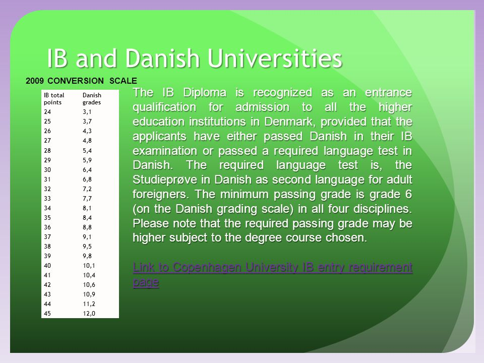 IB and Danish Universities