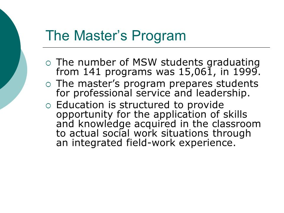 The Master's Program The number of MSW students graduating from 141 programs was 15,061, in 1999.