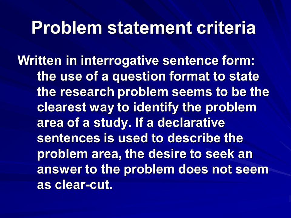 Problem statement criteria