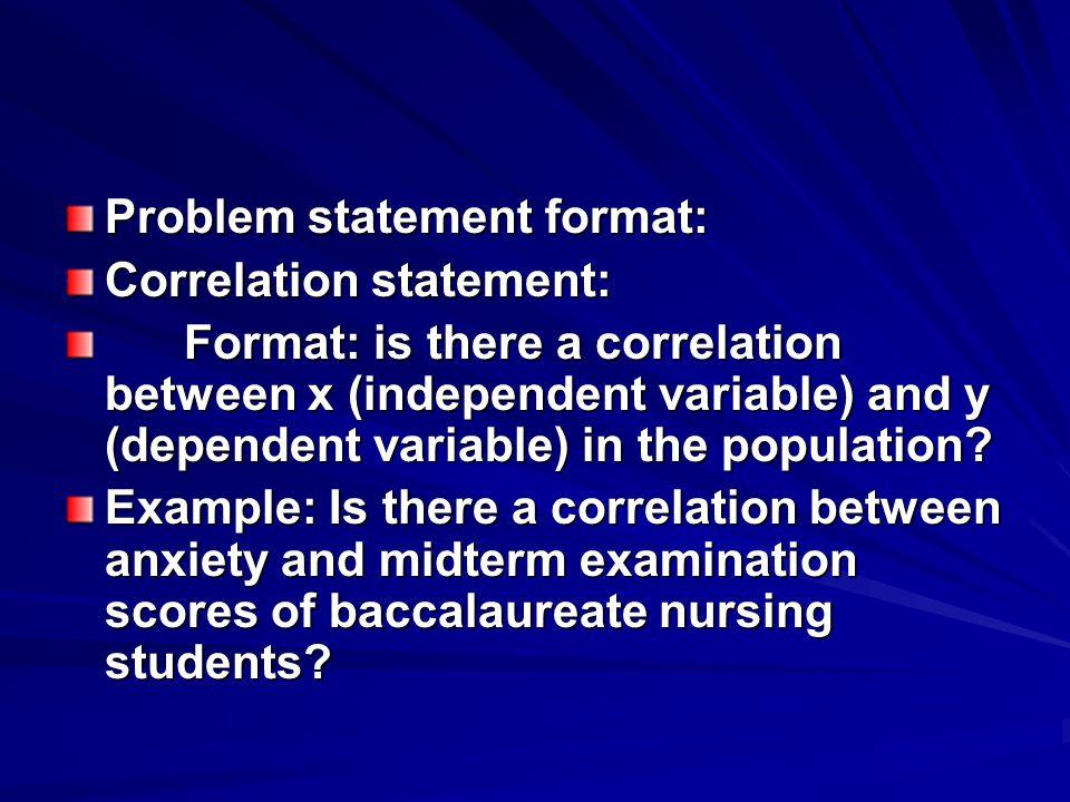 Problem statement format: