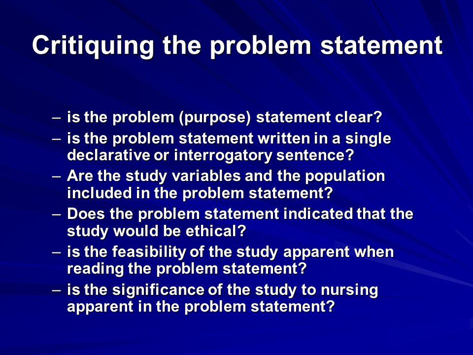 Critiquing the problem statement