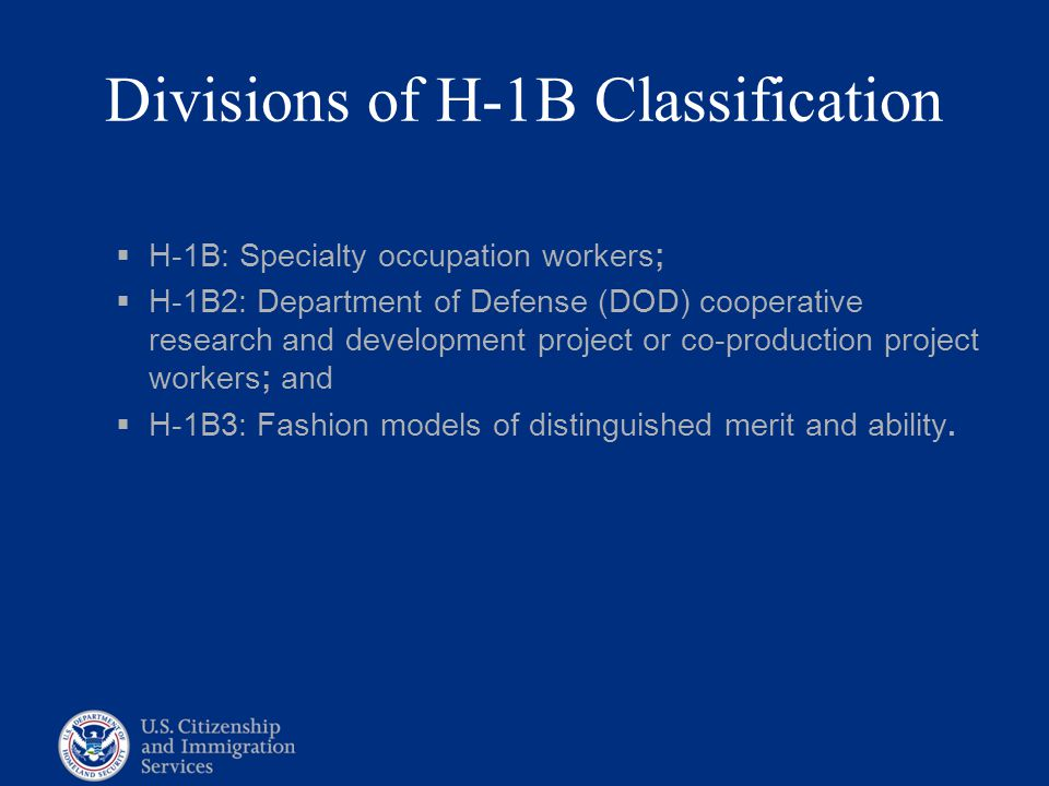 Divisions of H-1B Classification