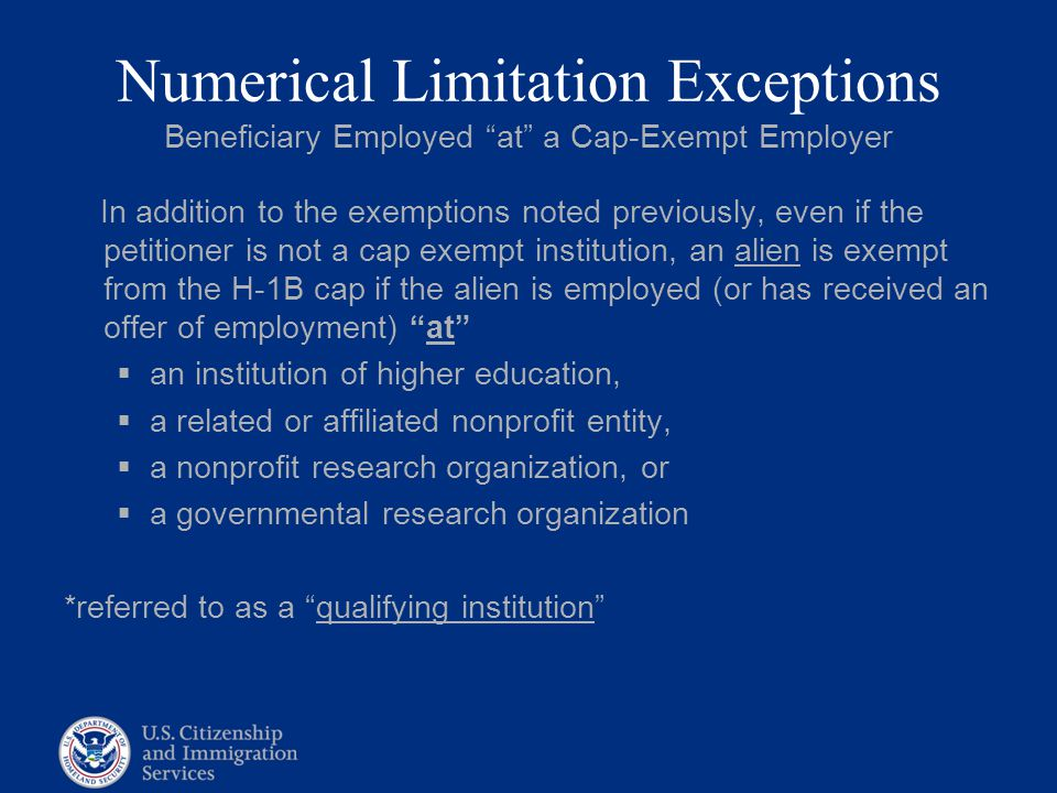 Numerical Limitation Exceptions Beneficiary Employed at a Cap-Exempt Employer