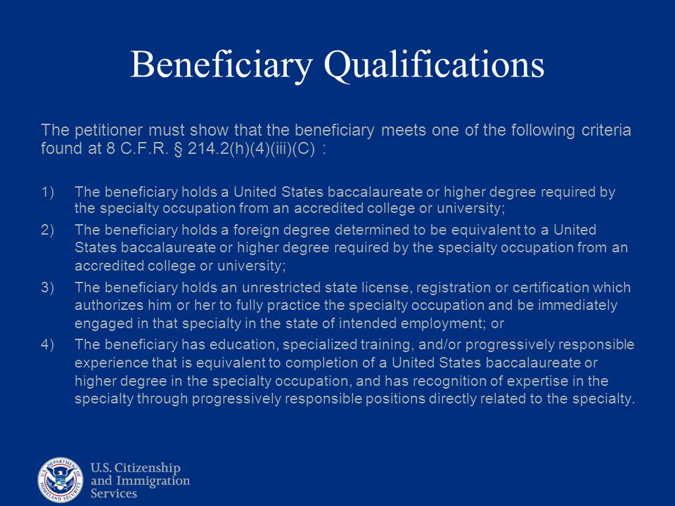 Beneficiary Qualifications
