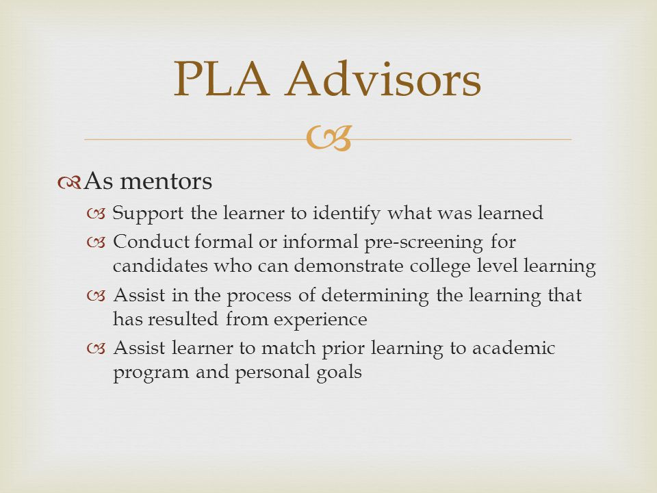 PLA Advisors As mentors