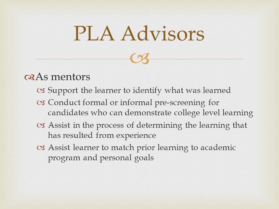 PLA Advisors As mentors