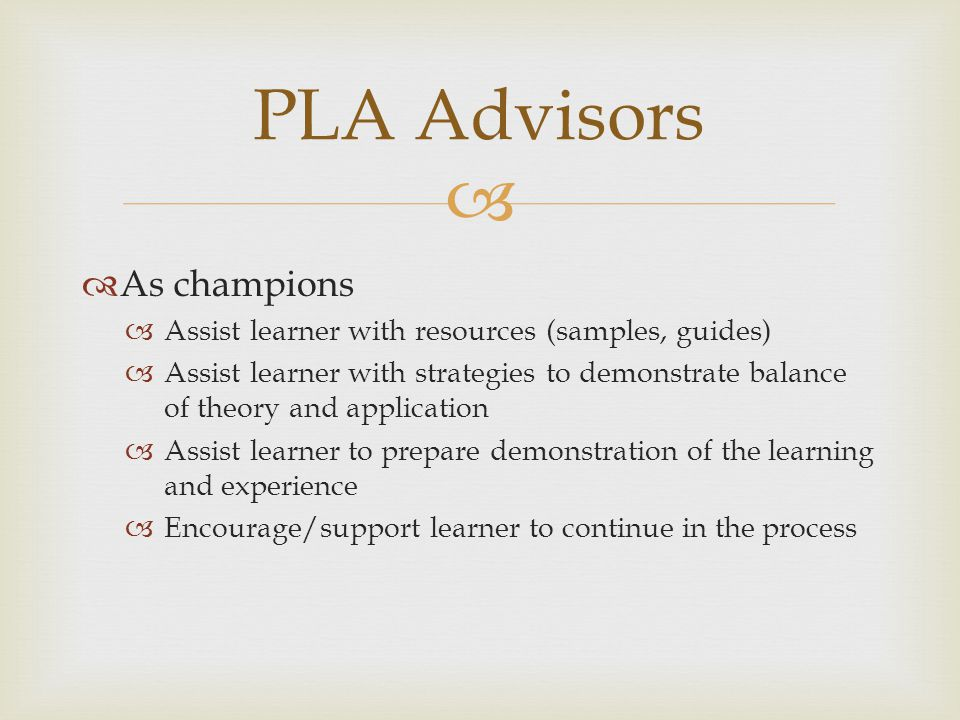 PLA Advisors As champions