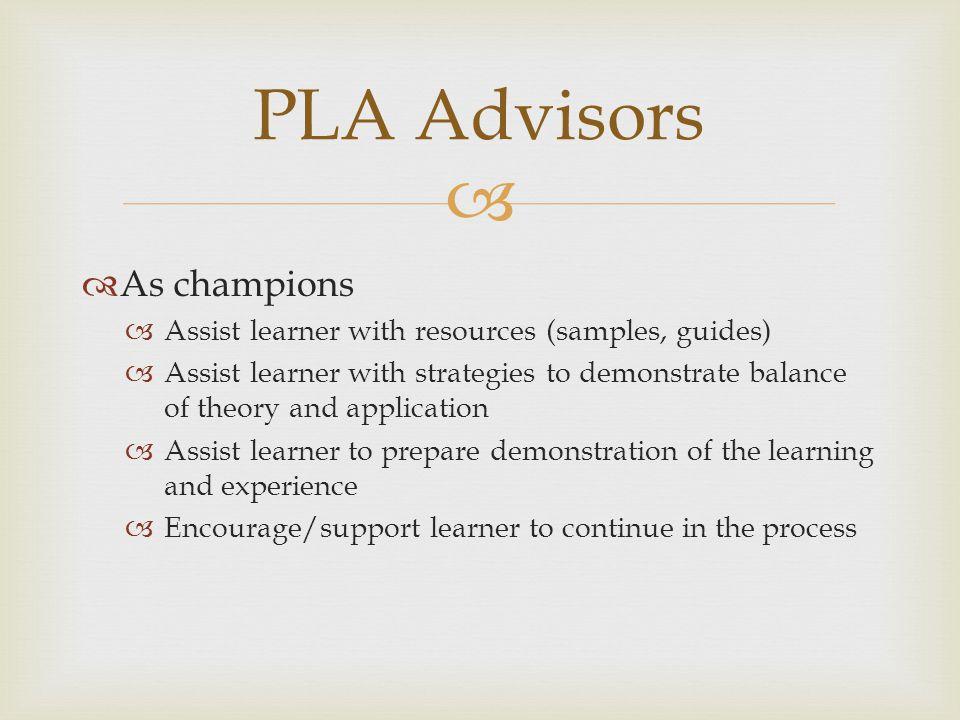 PLA Advisors As champions