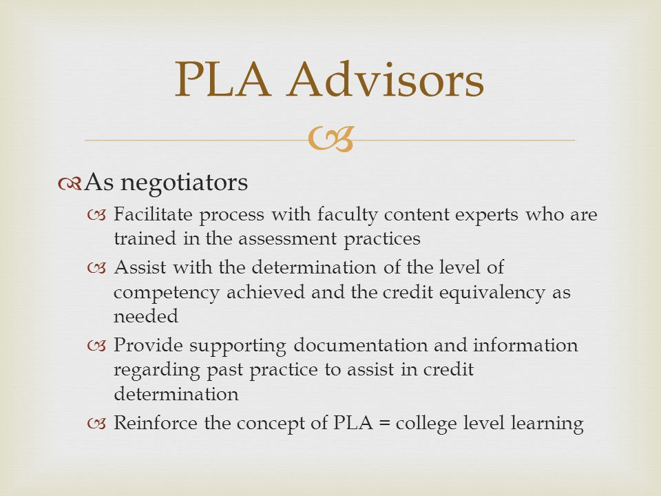 PLA Advisors As negotiators