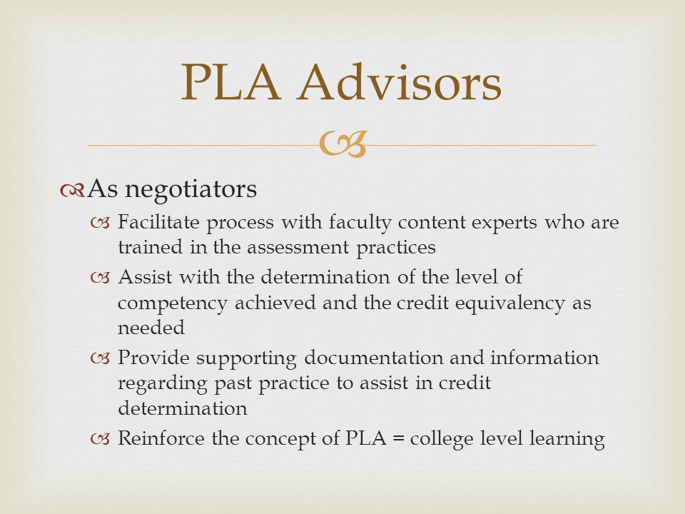 PLA Advisors As negotiators
