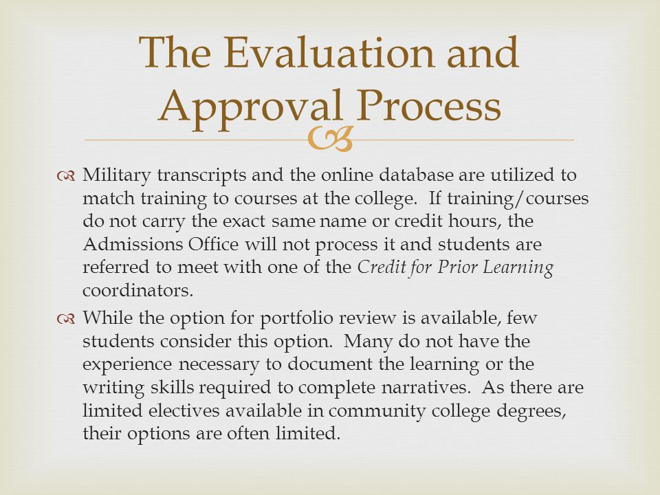 The Evaluation and Approval Process