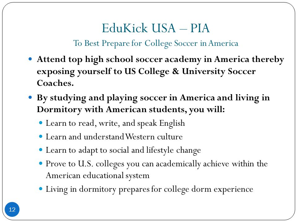 EduKick USA – PIA To Best Prepare for College Soccer in America