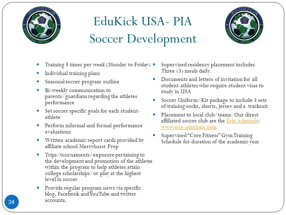 EduKick USA- PIA Soccer Development