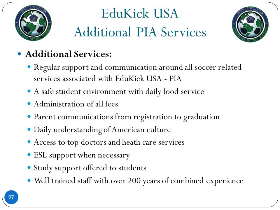 EduKick USA Additional PIA Services
