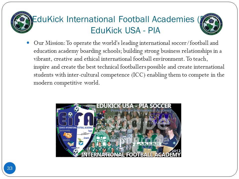EduKick International Football Academies (EIFA) EduKick USA - PIA