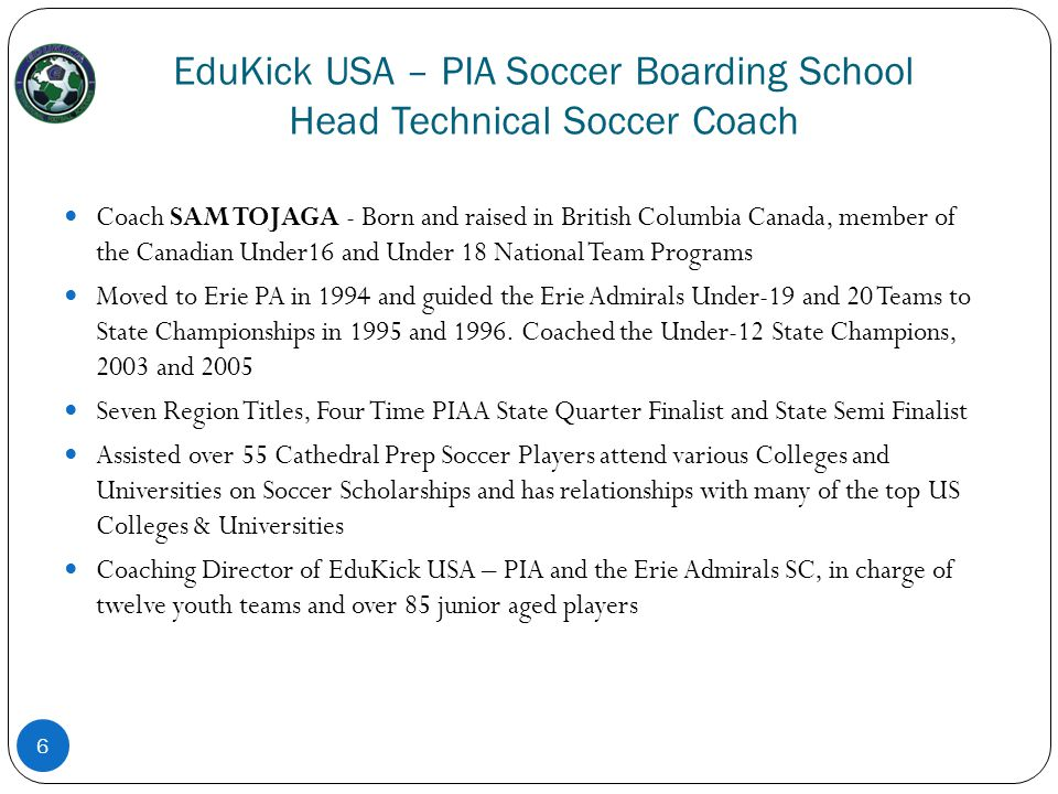 EduKick USA – PIA Soccer Boarding School Head Technical Soccer Coach