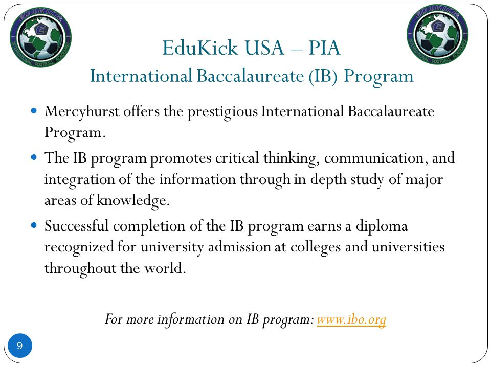 EduKick USA – PIA International Baccalaureate (IB) Program