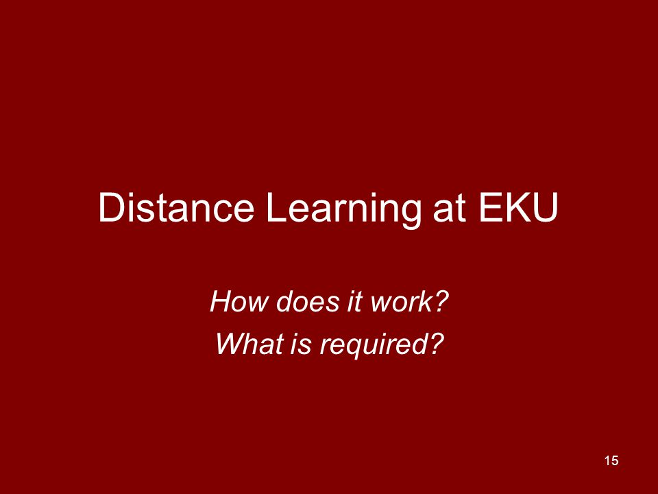 Distance Learning at EKU
