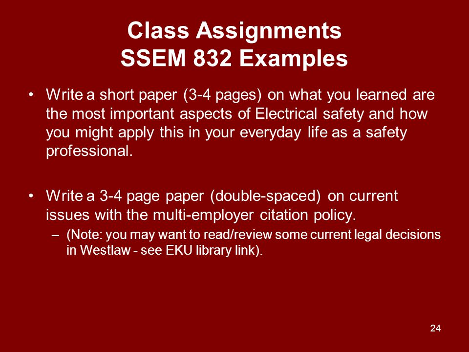 Class Assignments SSEM 832 Examples